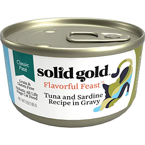 Solid Gold Pate In Gravy Wet Cat Food; Flavorful Feast With Real Tuna & Sardine (Formally Evening Tide), 24 Ct/3Oz