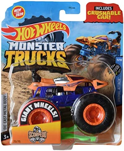 DieCast Hotwheels Monster Trucks Scorpedo 73 75 Includes Crushable car 1 64 Scale product image