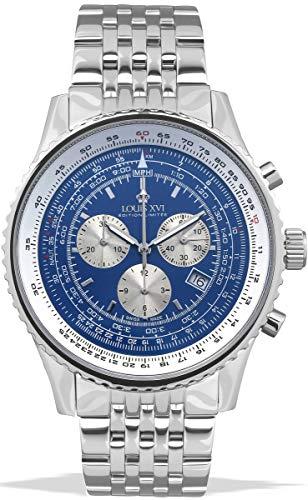 LOUIS XVI Reloj de Pulsera Arte Agnan Acero Plata Azul Fabricado en Suiza Cronógrafo Analógico Cuarzo Acero Inoxidable para Hombres 581