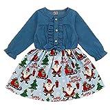 Robe de Noël pour enfants, bébés, filles, imprimé Père Noël, manches longues, jupe de princesse - Bleu - 18 mois