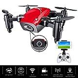 MHCYKJ RC Mini Drone avec Caméra HD S9 Pas de Pliage Télécommande Quadrocoptère WiFi FPV Micro Poche RC Hélicoptère Jouets pour Garçons,Red