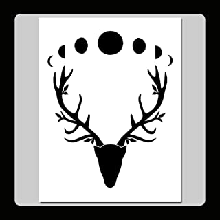 7 X 9 Wiccan Horned God Stag Head with Moon Phases Stencil Template Antlers/Leaves/Nature