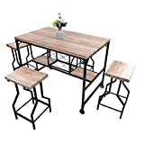 Dporticus 5-Piece Dining Set Industrial Style Wooden Kitchen Restaurant Table and Chairs with Metal Legs