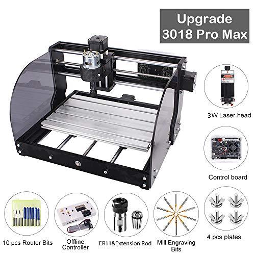 CNC Fräsmaschine Laser Engraving Machine 3018 Pro Max GRBL Steuerung Perfektes Set für Anfänger und HobbyHolz Router Stecher mit Offline-Controller XYZ Arbeitsbereich 300x180x45mm (3W)