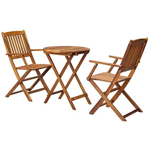 Festnight 3pcs Ensemble de Bistro pour Jardin Bois d'acacia 1 Table Rond Pliable et 2 Chaise Pliable