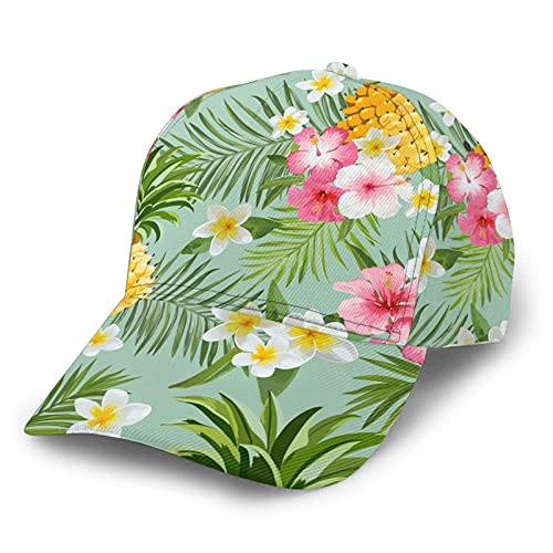 Hawaiian Pineapple Floral Baseball caps for Women Unisex Baseball Cap Adjustable Trucker Hat Structured Sun Hat Sports Snapback Cap
