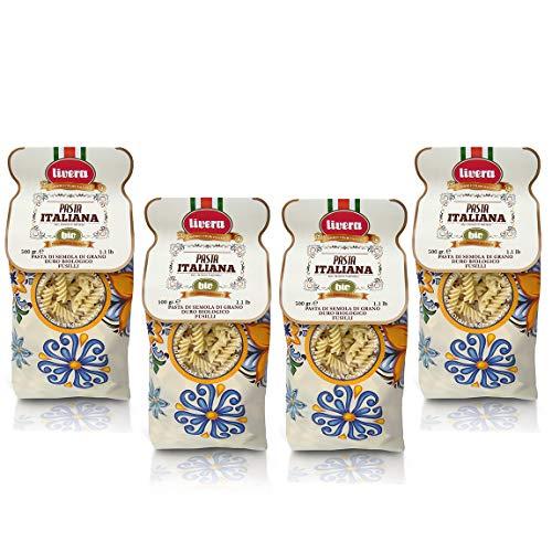 Livera Biologisch Fusilli 4 x 500 Gr, Kurze Pasta Bio aus Hartweizengrieß Bio 100% Made in Italy, Fusilli Bronze Gezeichnet, Hochwertige Getrocknete Handwerkliche Pasta Paket, Kochen 12'