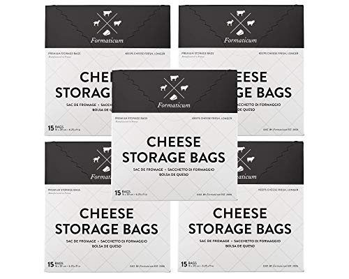 Formaticum Cheese Storage Bags, Keep Charcuterie Fresh, Wax Paper Bags, 75 Count
