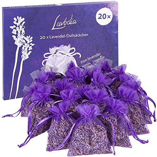 20x Lavendelsäckchen mit Premium Lavendelblüten von Lavodia, zum Mottenschutz gegen Motten im Kleiderschrank oder als Lavendel Duftsäckchen zum Entspannen und Schlafen, 20 Lavendel Säckchen