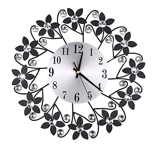 Kagodri Reloj de pared del hogar del arte del hierro de la flor, decoración de la sala de estar del metal del dormitorio de la manera del