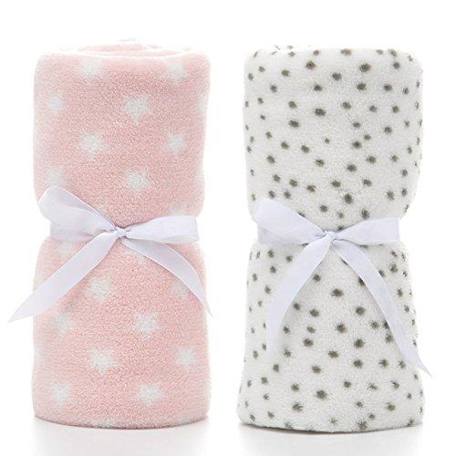 LeerKing Unisex Babydecke 2er Pack Jungs Mädchen Kuscheldecke Krabbeldecke Babybettwäsche Kinderwagen flauschig für Neugeborene Weiche Decke 75cmx100cm Pink+Weiß