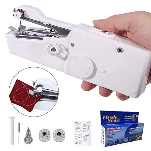 Mini Máquina de Coser Portátil Manual Herramienta de Puntada Rápida Mini Máquina de Coser de Bricolaje Adecuada para el Hogar y La Ropa de Viaje Telas Cortinas - Blanco