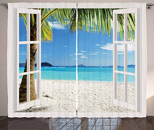 """Ambesonne Turquoise Curtains, Tropical Palm Trees on Island Ocean Beach Through White Wooden Windows, Living Room Bedroom Window Drapes 2 Panel Set, 108"""" X 84"""", White Blue"""