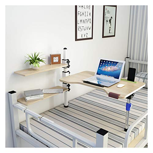 SSSY Mesa Escritorio Plegable para Ordenador, Mesa de Cama para Cama Escritorio Giratorio para EstacióN De Trabajo con 2 Estantes de Almacenamiento