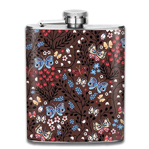 Retro-Muster, brauner Schmetterling, Edelstahl, klein, auslaufsicher, für den Außenbereich, tragbare Flasche für Alkohol, Whisky, Rum und Wodka