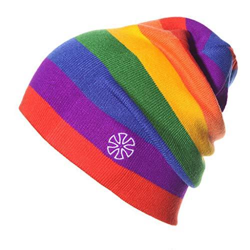 Losping Winter-Strickmütze für Damen und Herren, Regenbogen gestreift, Baggy Slouchy Cap Gr. One size, 3