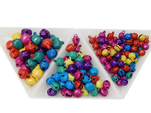 Perlin 1000 stuks belletjes belletjes metalen belletjes klemmen 10 mm + 8 mm + 6 mm jingle bells met oogje kleurrijke set mix kleur knutselen metalen klokken mini hanger voor sieraden maken Kerstmis decoratie DIY