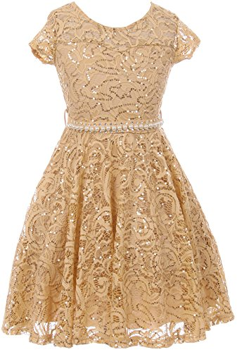 white and gold lace detail dress - 3