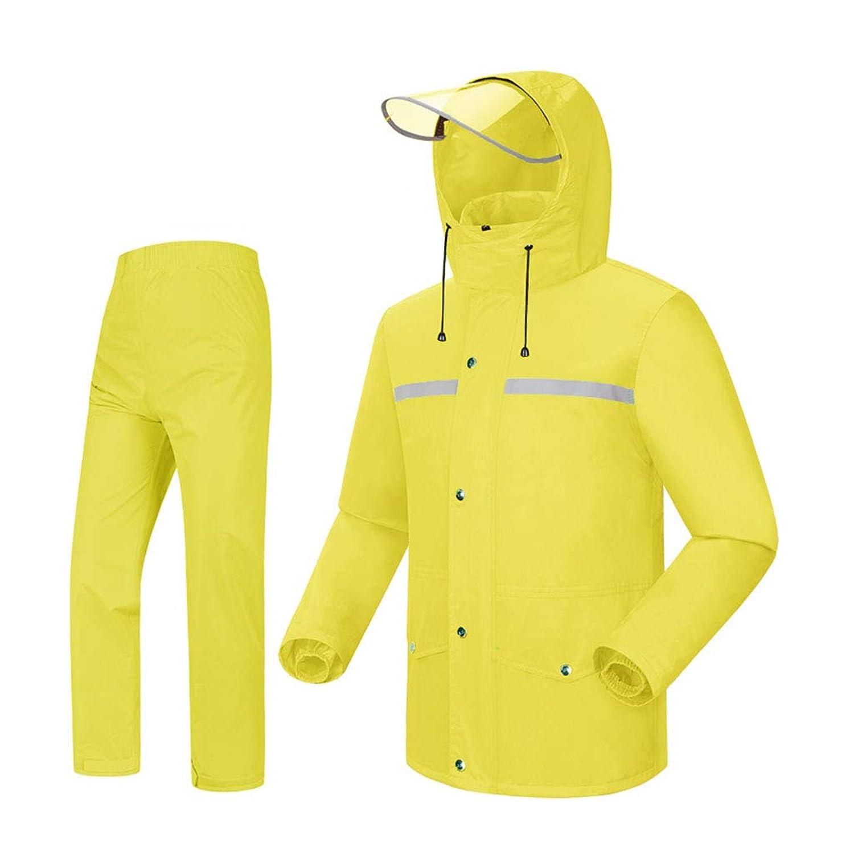レインコートセット ユニセックス レインスーツ 通気性レインコート+防水性パンツ アウトドアスポーツをハイキングするサイクリング用レインウェア