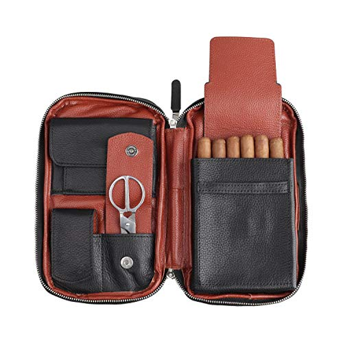 FIREDOG Cigar Pouch, Genuine Leather Travel Portable Cigar Case Box (Holds 5-6 Cigars,Black)