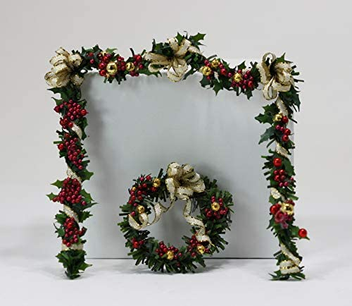 Dollhouse Miniature Artisan Holiday Deluxe 40% OFF Cheap Sale Wreath Fireplace and Garland