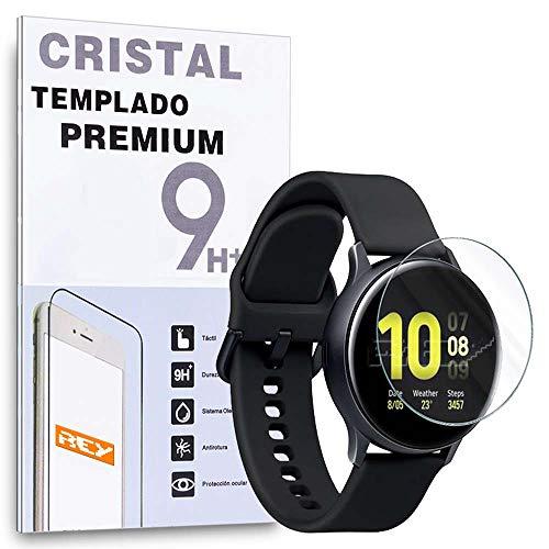 REY Protector de Pantalla para Samsung Galaxy Watch Active 2 40mm - Gear Sport SM-R600 - Galaxy Watch 3 41mm, Cristal Vidrio Templado Premium