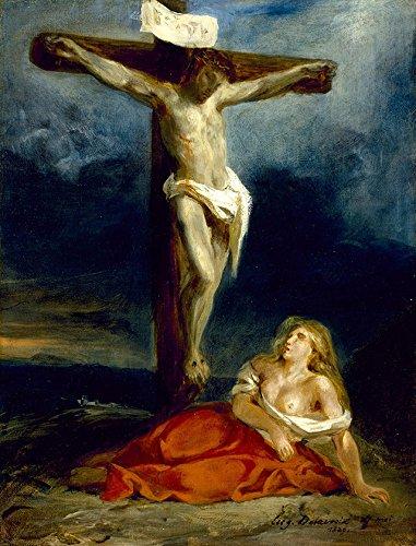Santa Maria Madalena aos Pés da Cruz Cristo Crucificado Pintura de Eugène Delacroix na Tela em Vários Tamanhos (55 cm X 42 cm tamanho da imagem)