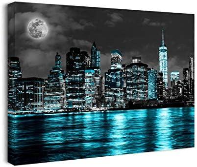 SEVLITTT Chicago Skyline Wall Art Black and Blue Teal Moon Modern New York Canvas Artwork Fashion product image