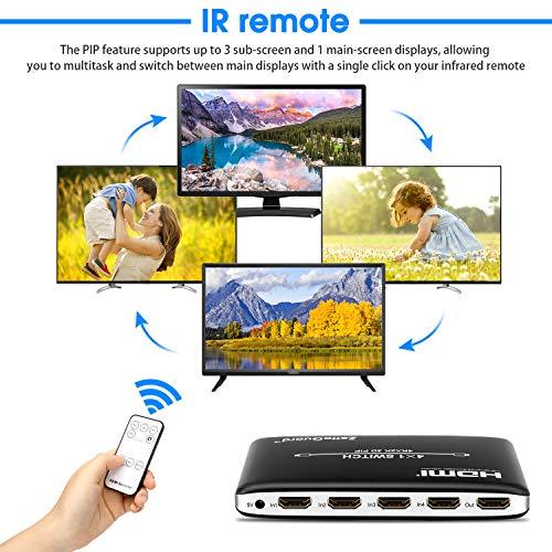 Zettaguard 4K x 2K 4 Puertos 4 x 1 Interruptor HDMI con Control Remoto inalámbrico Pip e IR, conmutador HDMI Hub interruptores (ZW410)