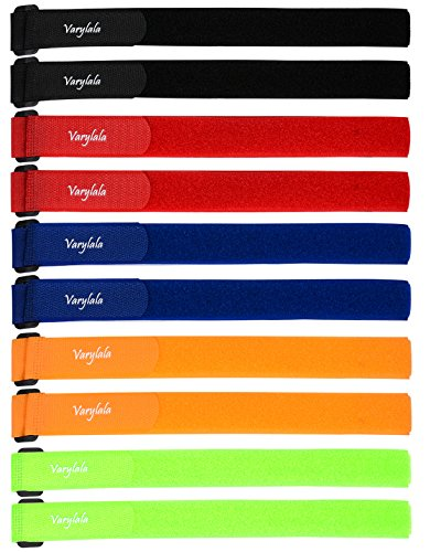 10 Pcs Versatile Hook and Loop Securing Straps Tie Downs Fastening Stabilizer Straps (1''x24'') – Assorted Colors (Multi-Color)