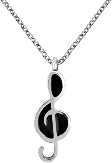 Sexymandala Music Note Urn Necklaces for Ashes Black Cremation Urn Jewelry Stainless Steel Pendant 18''