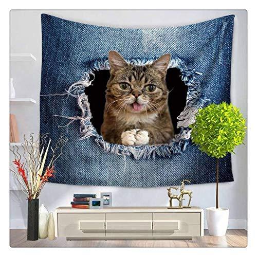 Tapiz de poliéster con patrón de Serie de Gatos geniales creativos en 3D, Tapiz de Vaquero con Estampado de Animales, Mural para Colgar en la Pared, Sala de Estar, decoración del hogar