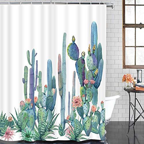 Bathroom Shower Curtain Tropical Cactus Shower Curtains with 12 Hooks, Cactus Flowers Blossom Bath Curtain Durable Waterproof Fabric Bathroom Curtain