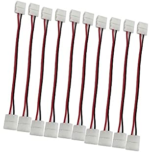 LightingWill 10pcs Pack Strip to Strip with Wire Solderless Snap Down 2Conductor LED Strip Connector Extension cable for 10mm Wide 5050 5630 Single Color Flex LED Strips