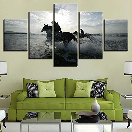Kunstlinnen, 5 muurschilderingen, hoge resolutie, dier, paard, nachtkastje, muur, kunstwerk NO Frame 30x40 30x60 30x80cm
