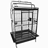 KING'S CAGES 8004030 Parrot CAGE 40x30x72 Play Pen Bird Cages Toy Cockatoo Macaw (Black/Silver)