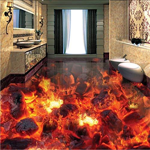 Syssyj Benutzerdefinierte Mural Tapete Moderne Feuer Flamme 3D Bodenfliesen Aufkleber Wohnzimmer Pvc Wasserdichte Tragen 3D Bodenbelag Tapete Rolle-200X140CM