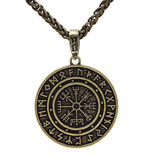 HLARK Colgante de Collar Vikingo con Runas Vegvisir Amuleto Céltico J