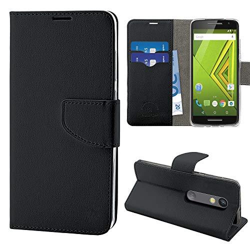 N NEWTOP Cover Compatibile per Motorola Moto X Play, HQ Lateral Custodia Libro Flip Chiusura Magnetica Portafoglio Simil Pelle Stand (Nera)