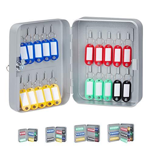 Relaxdays Schlüsselkasten, abschließbare Sicherung, Keygarage mit 20 Haken, 20x16x8 cm, Grau