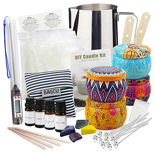 Candle Making Supplies DIY Candle Making Kit, Beeswax Arts and Crafts for Adults Gift Set with Fragrance Oil, Candle Wicks, Melting Pot, Tins, Dyes, Wooden Sticks, Thermometer, Centering Devices