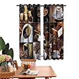 dsdsgog Bedroom Shade Curtains Coffee Mugs Roasted Bean Curtain for Bedroom
