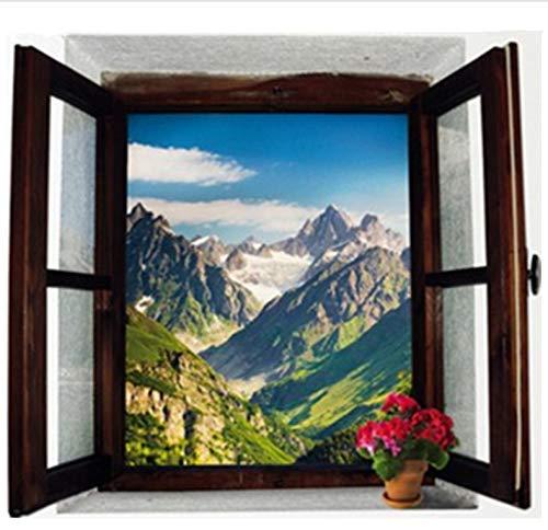 Adesivi Murali Montagne Paesaggio Naturale 3D Finestra Decorazione Della Casa Stile Occident Adesivo Vinile Soggiorno Carta Da Parati 70X50 cm