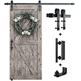 SMARTSTANDARD 6.6FT Sliding Barn Door Hardware Whole Kit (Include 6.6ft Track Kit & Pull Handle Set & Floor Guide), Smoothly and Quietly, Easy to Install, Fit 36'-40' Wide Door Panel (J Shape)