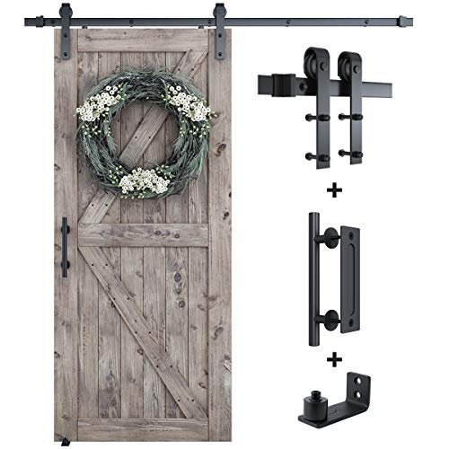 SMARTSTANDARD 6.6FT Sliding Barn Door Hardware Whole Kit (Include 6.6ft Track Kit & Pull Handle Set & Floor Guide), Smoothly and Quietly, Easy to Install, Fit 36