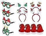 Pack 12 Gorro de Papá Noel con Diademas de Navidad y Marcos de Gafas 2021 para...
