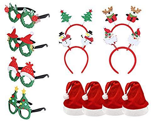 Pack 12 Gorro de Papá Noel con Diademas de Navidad y Marcos de Gafas 2021 para Fiesta Año Nuevo Manualidades Accesorios de Navidad