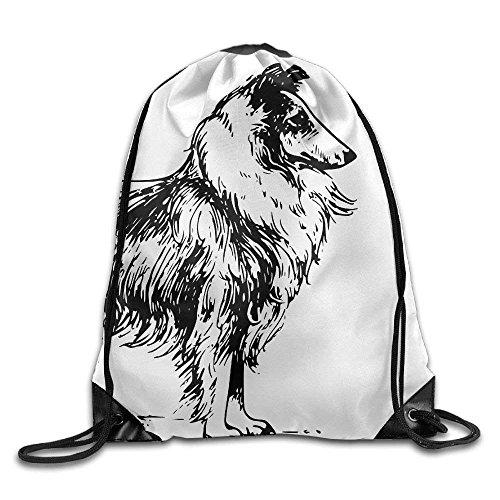 Border Collie Gym Kordelzug Rucksack Unisex Tragbare Sack Taschen 14 X 16,5 Zoll