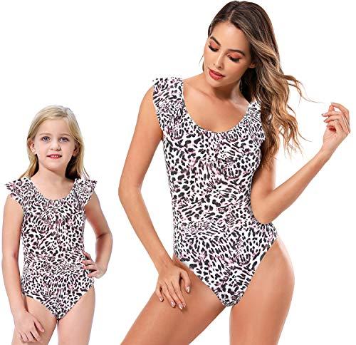 SHEKINI Mutter Tochter Badeanzug Süß Volant U Ausschnitt Bauchweg Bikinis Leopard Gblümter Einteiliger Monokini Mama Mädchen Familie Bademode (M, Mutter-Leopard)