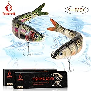 SHINEFISH Fishing Lures Multi Jointed Swim baits Slow Sinking bass Lures The New Upgrade Luya Fishing Lures Gear (BC)